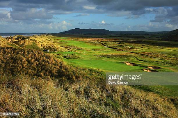 The green on the 401 yards, par 4, 4th hole with the par 4, 14th hole behind at The Aberdovey Golf Club on September 17, 2010 in Aberdovey, Gwynedd,...