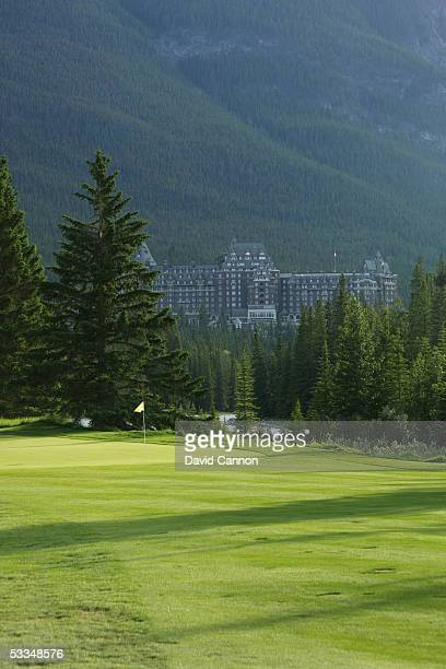 The green on the 449 yard par 4 12th hole on the Stanley Thompson Eighteen Course at The Fairmont Banff Springs Resort on June 24 2005 in Banff...