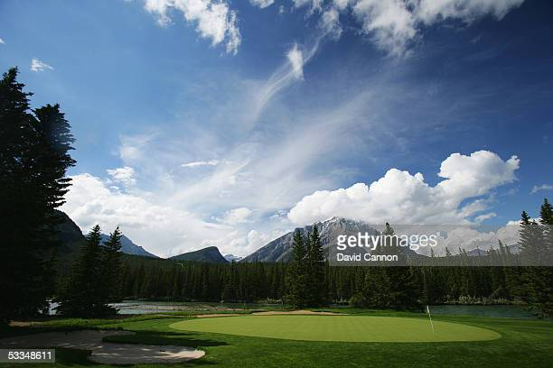 The green on the 510 yard par 5 9th hole on the Stanley Thompson Eighteen Course at The Fairmont Banff Springs Resort on June 24 2005 in Banff...