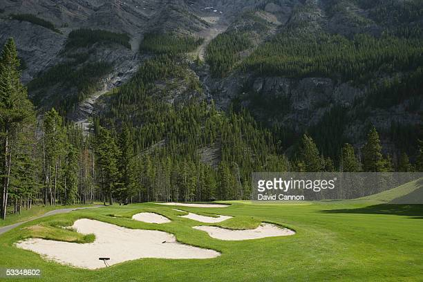 The green on the 536 yard par 5 3rd hole on the Stanley Thompson Eighteen Course at The Fairmont Banff Springs Resort on June 24 2005 in Banff...
