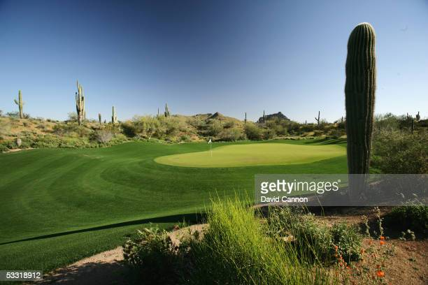 The green on the 588 yard par 5, 2nd hole at the We-Ko-Pa Golf Club on April 01 in Fort McDowell, Arizona, United States.