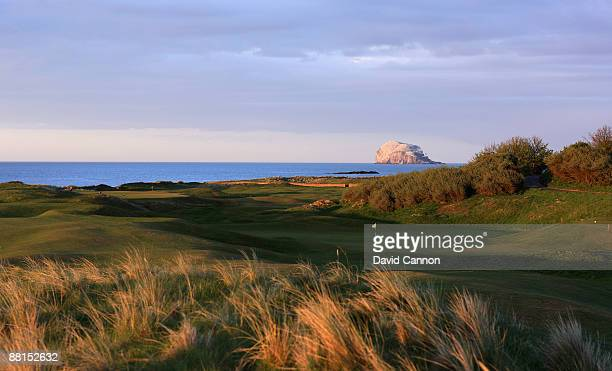 The green on the par 3 4th hole with the third green behind hole at North Berwick Golf Club on May 3 2009 in North Berwick Scotland