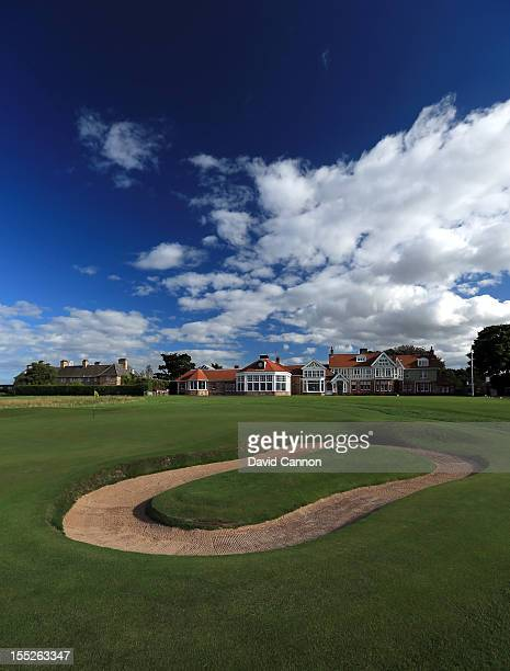 The green on the par 4 18th hole with the clubhouse behind at The Honourable Company of Edinburgh Golfers at Muirfield on August 31 in Gullane...