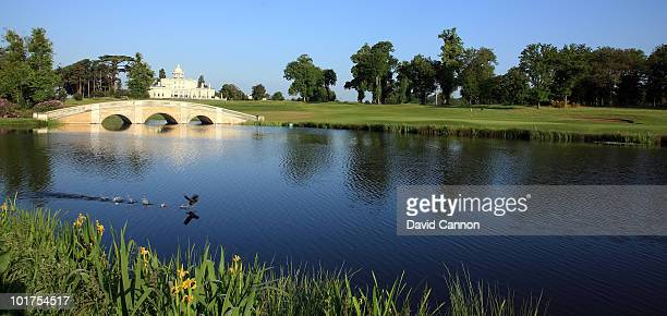 The green on the par 4 20th hole with the Clubhouse behind at The Stoke Park Club on June 4 in Stoke Poges England