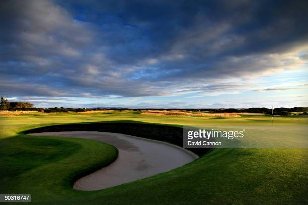 The green on the par 4 3rd hole 'Cartgate' which shares it's green with the 15th hole and is protected by the Cartgate Bunker on the Old Course at St...