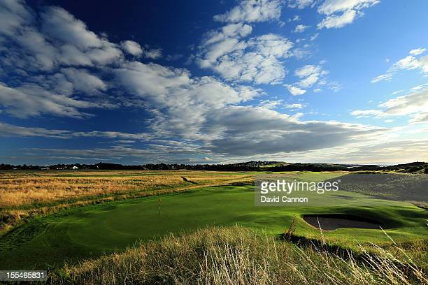 The green on the par 4 3rd hole looking back to the tee at The Honourable Company of Edinburgh Golfers at Muirfield on August 31 in Gullane Lothian...