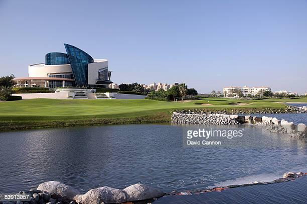 lDUBAI UNITED ARAB EMIRATES NOVEMBER 19 The green on the par 4 9th hole from the 16th tee on the Four Seasons Golf Club at Dubai Festival City on...