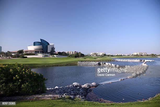 The green on the par 4 9th hole from the 16th tee on the Four Seasons Golf Club at Dubai Festival City on November 19 2008 in Dubai