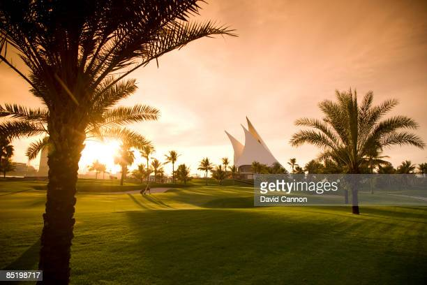 The green on the par 4 9th hole with the clubhouse behind at the Dubai Creek Golf and Yacht Club on January 20 2009 in Dubai United Arab Emirates