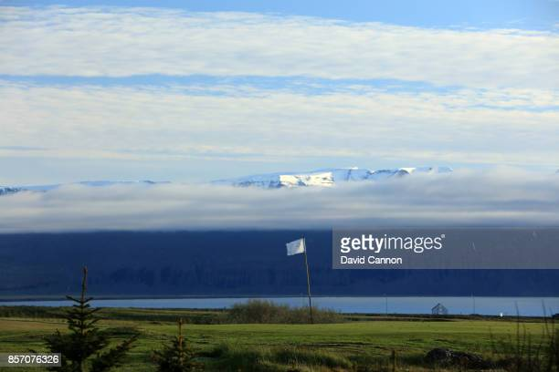 The green on the par 4 first hole at Husavik Golf Club on June 12 2017 in Husavik hofn Iceland