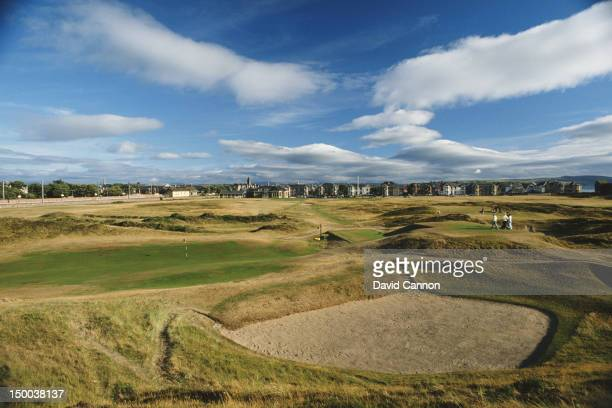 The green on the par 4,Alps 17th hole with the par 4, 18th hole behind at Prestwick Golf course on 1st July 1991 at the Prestwick Golf club in...