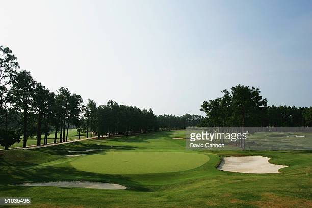 The green on the par 5 16th with the par 3 17th to the right on the Pinehurst No 2 Course venue for the 2005 US Open Championship on May 20 2004 in...