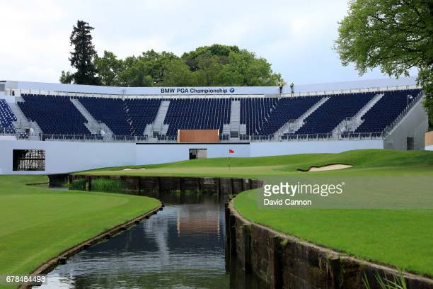 The green on the par 5 18th hole with the grandstand taking shape during the European Tour BMW PGA Championship on the Ernie Els designed remodelled...