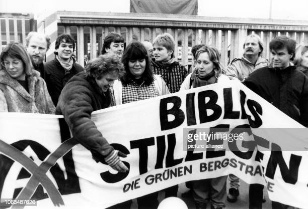 The Green Party of Bergstraße blocks the driveway of the nuclear power plant Biblis during a spontaneous action with delegates of the Hessian Landtag...