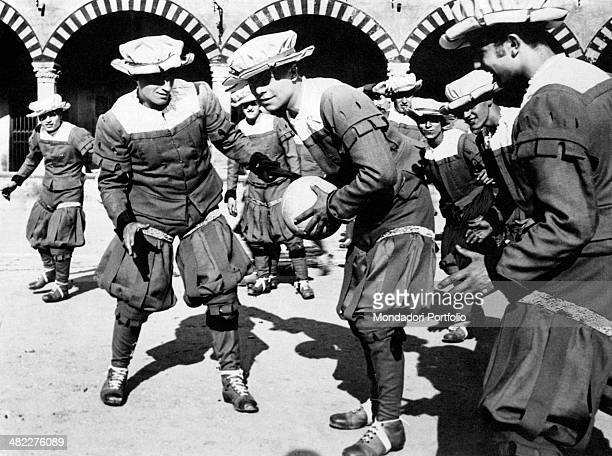 The Green Team taking part in the Calcio fiorentino historical re-enactment. Florence, 4th May 1930