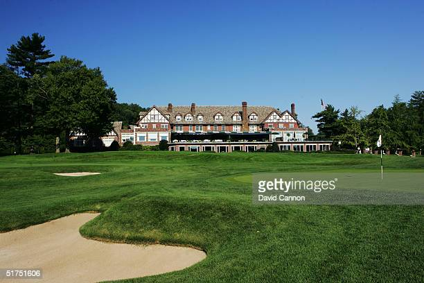 The green with clubhouse behind 553 yard par 5 18th hole on the Lower Course at Baltusrol Golf Club venue for the 2005 USPGA Championship, on...