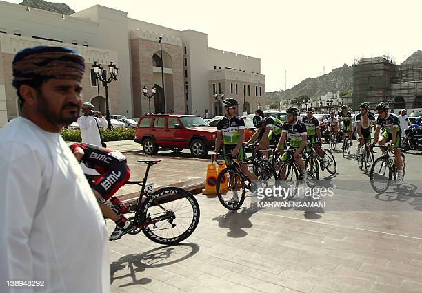 The Greenedge Cycling team arrive to sign up prior to the start of the first stage of the Tour of Oman at alAlam Palace in Muscat on February 14 2012...