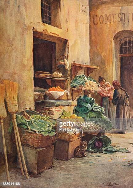The Greengrocer shop' c1910 From An Artist in the Riviera by Walter Tyndale RI [Hutchinson Co London 1912] Artist Walter Frederick Roofe Tyndale