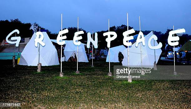 The Greenpeace area during day 1 of the 2013 Glastonbury Festival at Worthy Farm on June 27 2013 in Glastonbury England