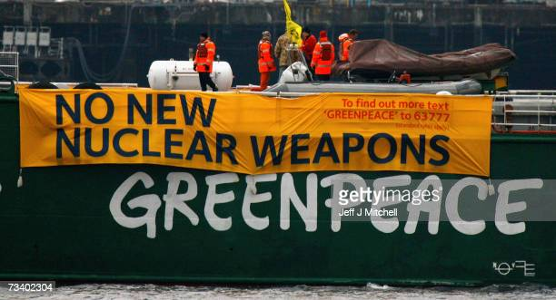 The Greenpeace ship Arctic Sunrise blockades at the Faslane naval base which is the home of the UK's nuclear deterrent on February 23, 2007 in...