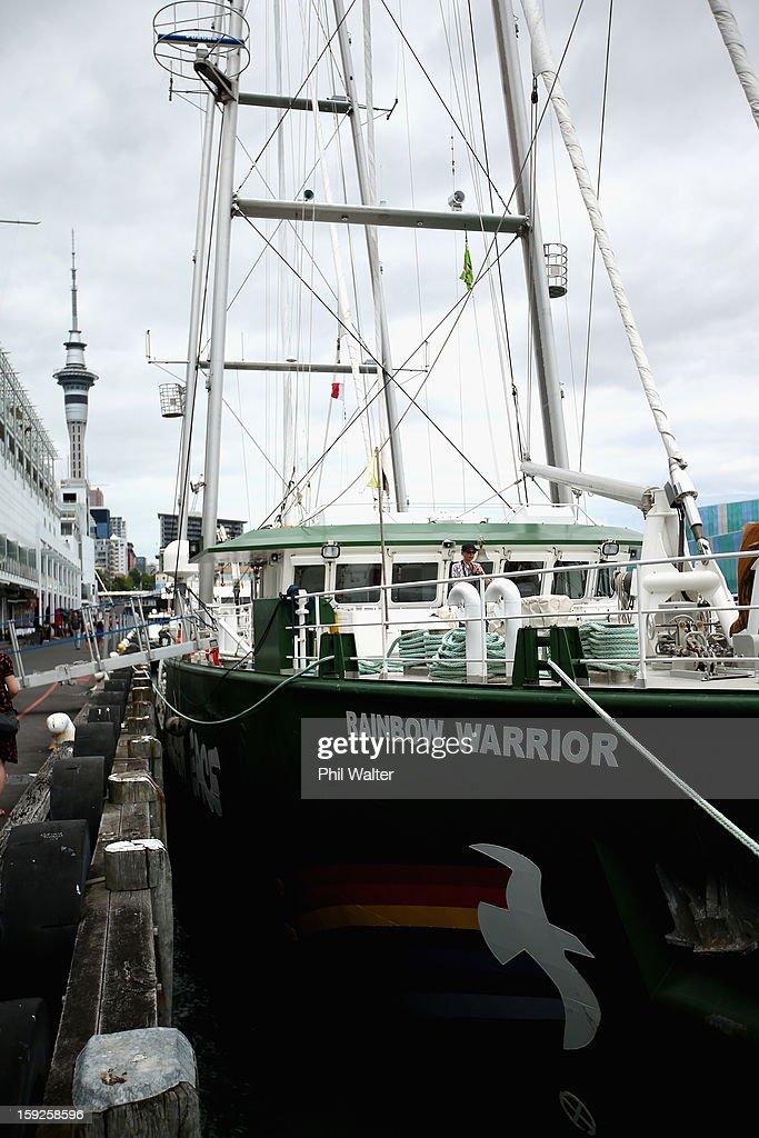 Rainbow Warrior Arrives In Auckland : News Photo