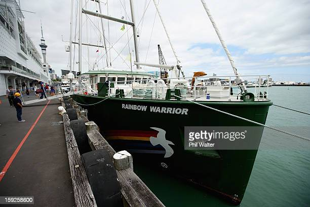 The Greenpeace vessel Rainbow Warrior berths on Princess Wharf at Auckland Harbour on January 11 2013 in Auckland New Zealand The vessel will tour...