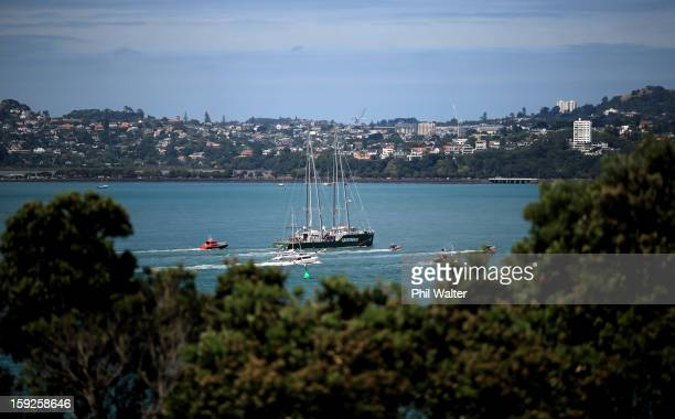 The Greenpeace vessel Rainbow Warrior sails into Auckland Harbour on January 11 2013 in Auckland New Zealand The vessel will tour New Zealand for 6...
