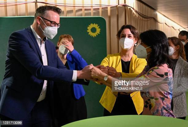 The Greens regional Parliamentary group leader Andreas Schwarz, the Greens regional Party leader Sandra Detzer and the head of the regional...