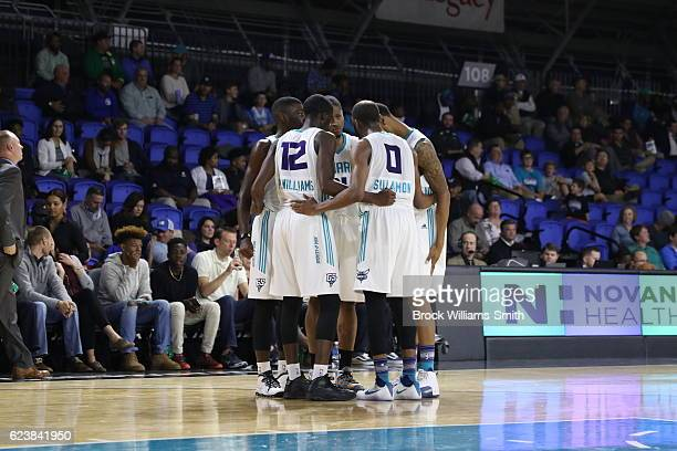 The Greensboro Swarm players huddles during the game against the Westchester Knicks during the game at the The Field House at the Greensboro Complex...