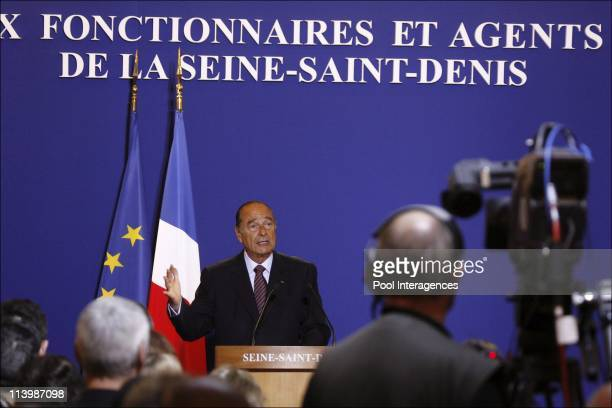 The greeting ceremony at the prefecture of Seine Saint Denis in Bobigny France On January 09 2007The allocation of Jacques Chirac the president of...