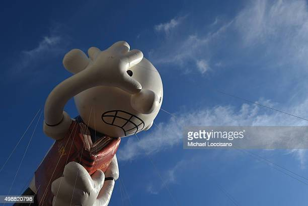 The Greg Heffley from Diary of a Wimpy Kid balloon floats through the parade route during the 89th Annual Macy's Thanksgiving Day Parade on November...