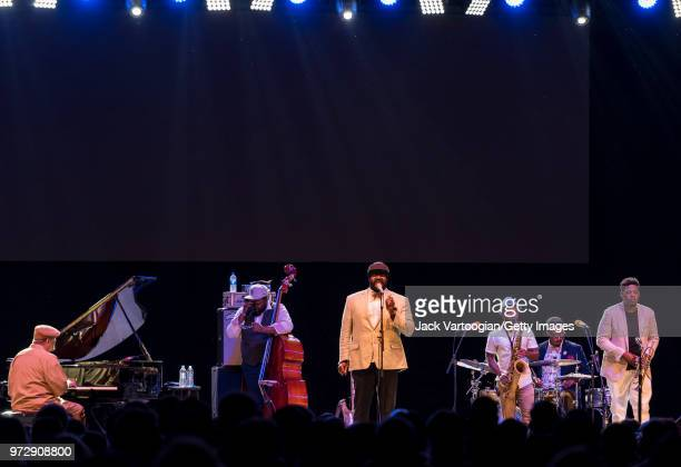 The Gregory Porter Septet perform at a concert in the Blue Note Jazz Festival at Central Park SummerStage New York New York June 2 2018 Pictured are...