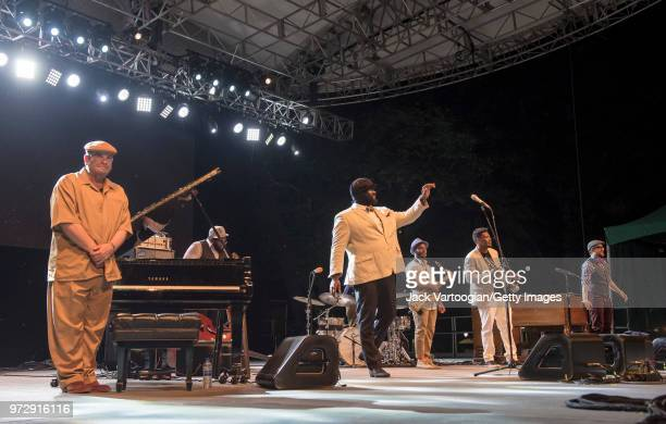 The Gregory Porter Septet take a bow after performing at a concert in the Blue Note Jazz Festival at Central Park SummerStage New York New York June...