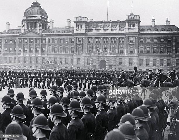 The Grenadier Guards on ParadeThe Duke of Connaught uncle of King George of England reviewing the Grenadier Guards in the Horse Guards Parade London...