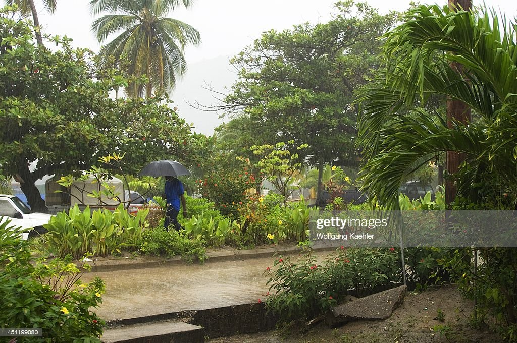 The Grenadines, Bequia Island, Port Elizabeth, Street Scene, Tropical Rainstorm.