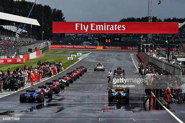 The grid at the start of the race during the Formula One Grand Prix of Great Britain at Silverstone on July 10 2016 in Northampton England