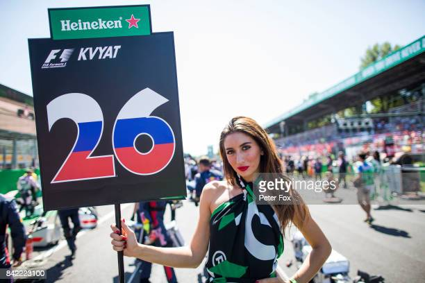 The grid girl of Daniil Kvyat of Russia and Scuderia Toro Rosso on the grid before the Formula One Grand Prix of Italy at Autodromo di Monza on...