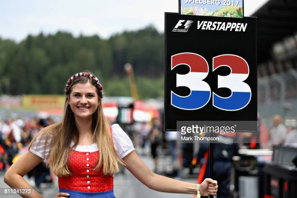 The grid girl of Max Verstappen of Netherlands and Red Bull Racing on the grid before the Formula One Grand Prix of Austria at Red Bull Ring on July...