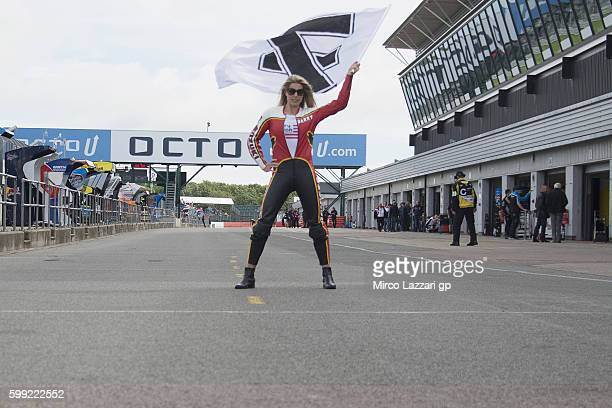 The grid girl poses during the Barry Sheene Parade during the MotoGp Of Great Britain Race at Silverstone Circuit on September 4 2016 in Northampton...
