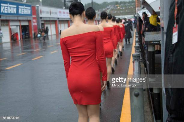 The grid girl walk in pit during the Moto2 race during the MotoGP of Japan Race at Twin Ring Motegi on October 15 2017 in Motegi Japan