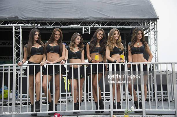 The grid girls pose during the MotoGp of Catalunya Previews at Circuit de Catalunya on June 12 2014 in Montmelo Spain