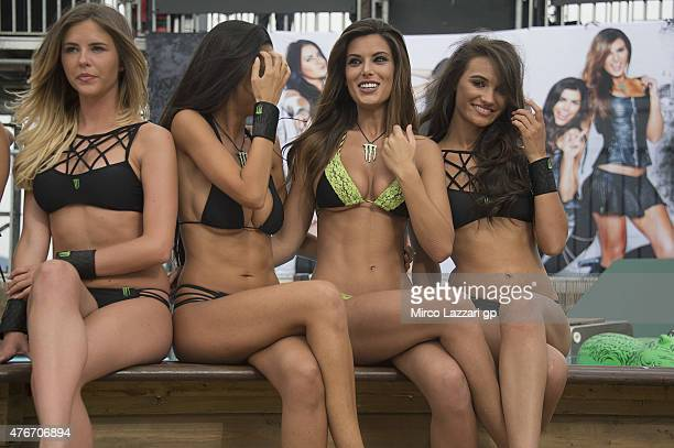 The grid girls pose during the 'Official MotoGP 2015 Videogame Presentation' during the MotoGp of Catalunya Previews at Circuit de Catalunya on June...