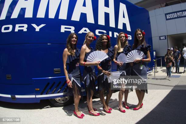 The grid girls pose in paddock during the MotoGp of Spain Qualifying at Circuito de Jerez on May 6 2017 in Jerez de la Frontera Spain