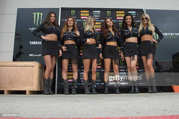 The grid girls pose in paddock during the MotoGp Red Bull US Grand Prix of The Americas Race at Circuit of The Americas on April 10 2016 in Austin...