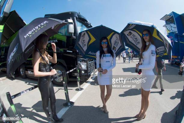 The grid girls pose in paddock during the qualifying practice during the MotoGp of Italy Qualifying at Mugello Circuit on June 2 2018 in Scarperia...