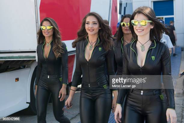 The grid girls walk in paddock during the pit walk during the MotoGp of Spain Qualifying at Circuito de Jerez on May 5 2018 in Jerez de la Frontera...