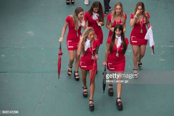 The grid girls walk in paddock during the qualifying practice during the MotoGp of Argentina Qualifying on April 7 2018 in Rio Hondo Argentina