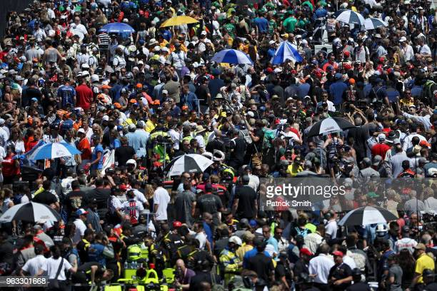The grid is seen prior to the 102nd Indianapolis 500 at Indianapolis Motorspeedway on May 27 2018 in Indianapolis Indiana