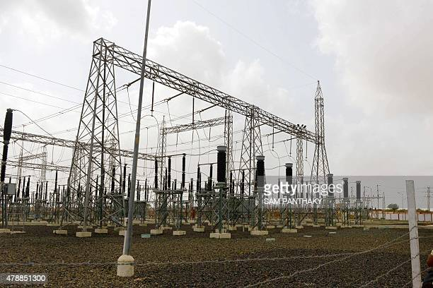 The Grid which accumulates electricity generated from a cluster of Suzlon Energy Limited's 90 metre tall wind turbine towers is pictured in the...