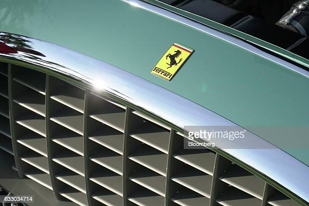 The grill and badge of a 1952 Ferrari SpA 342 America grand touring vehicle is seen during the 26th Annual Cavallino Classic Event at the Breakers...
